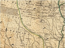 Image Depicting the Detail of the present-day Oklahoma region from Thomas Jefferys' American Atlas